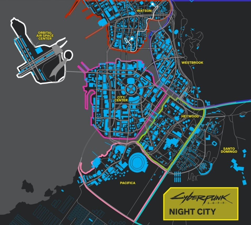 Mapa Night City del juego Cyberpunk 2077